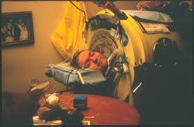 Mark O'Brien inside his iron lung